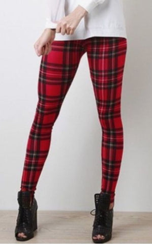 front view of red plaid leggings