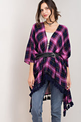 Amethyst Plaid with Back Trim Poncho (Belt not included)
