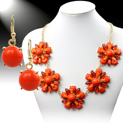 Floral Statement Necklace - orange