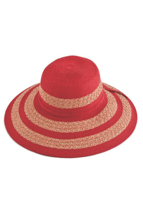 Womens' Two Tone Stripe Straw Floppy Sun Hat in red or sage