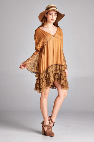 Mocha Ruffle & Lace Tunic Top
