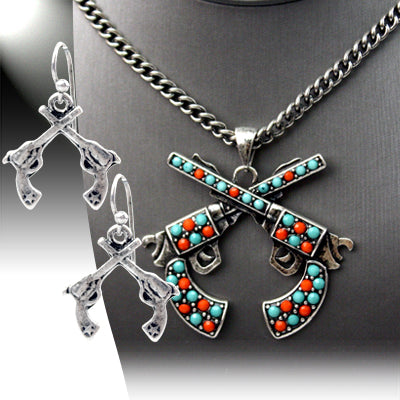 Coral & Turquoise Crossed Guns Necklace & Earring Set