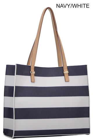 Tassel Striped Satchel (Navy & White)
