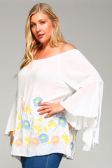 Bell Sleeve Flowered Top (also available in Plus)