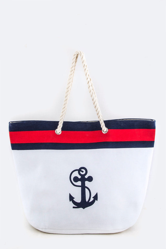 Red White and Blue Anchor Tote