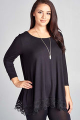 Plus Size Solid Rayon Jersey Round Neck Tunic Top with Lace Trim Detail and 3/4 Sleeves