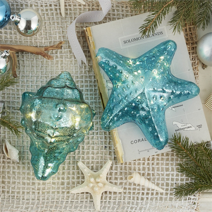 Hand Blown Shining Sea Blue Glass LED Décor (Sold Separately)