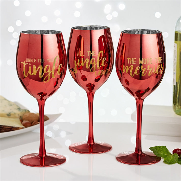 Holiday Cheer Mirrored Wine Glass (Sold Separately )
