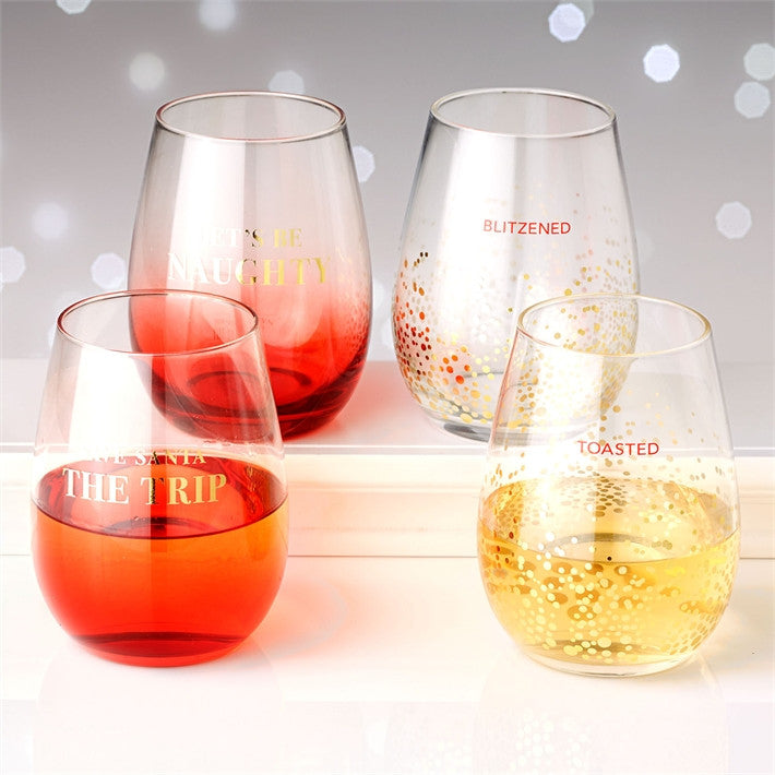 Holiday Cheer Stemless Wine Glasses (Set of 2)