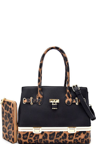 Animal print Flip lock bottom compartment satchel & wallet set