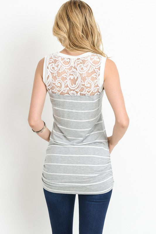 Striped Sleeveless Tank with Lace Bodice