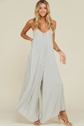 Wide Leg Cami Jumpsuit (Heather Grey)