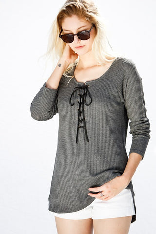 Thermal Lace Up High Low Tunic Top
