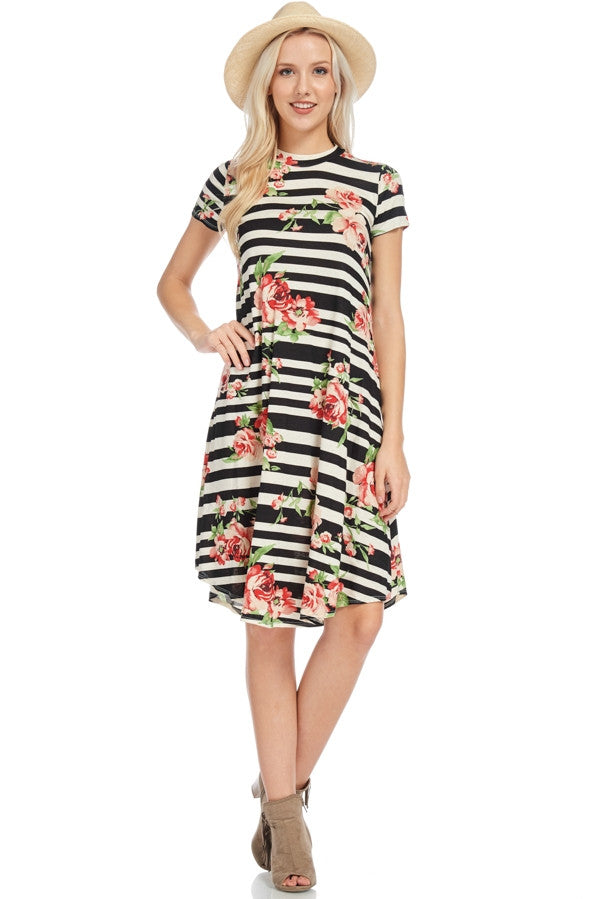 Mock Neck Floral Striped Tee Dress