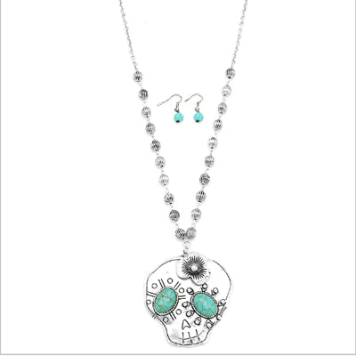Antique Turquoise & Silver Skull Necklace