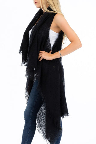 Chic Textured Classic Cardigan with Fringe (Black, Burgundy, Gray or Olive)