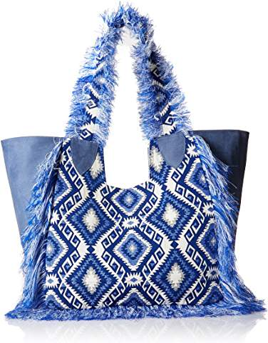 2Chic Blue & White Brocade Tote with Fringe & Leather