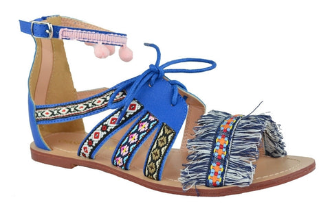 Mateo Fringe Sandal (in Blue & Black)
