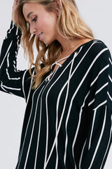Side view of black striped hoodie