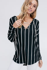 Front view of black striped hoodie