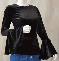 Black Velvet Boho Chic Bell Sleeve Top