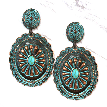 Antique Metal Concho earrings