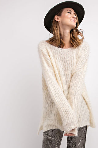 Cream over sized women's mohair sweater front view