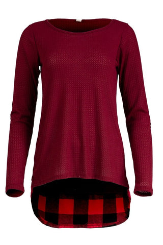 front view of burgundy buffalo elbow patch with contrasting buffalo plaid hem hi lo tunic