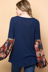 Brushed Knit Top with Contrast Paid & Floral Bubble Sleeves