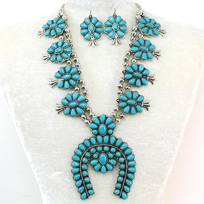 Antique Silver & Turquoise Necklace & Earring Set