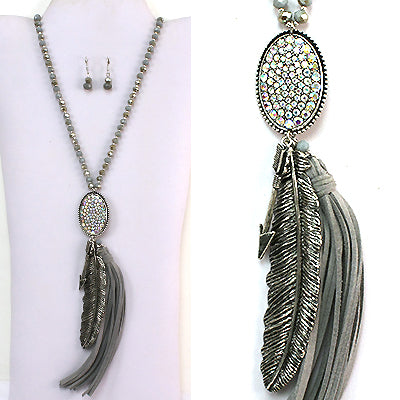 Antique Silver & Grey Feather & Tassel Necklace