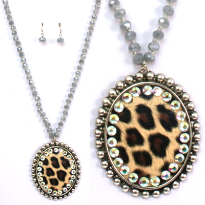 Silver & Leopard Necklace & Earring Set
