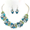 Silver & Blue Floral Necklace & Earring Set (matching Bracelet available)