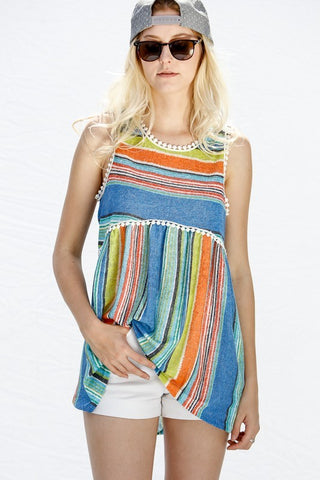 Striped Sleeveless Hi/Lo with Pom Pom Trim