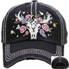 Black Baseball cap with white stitchin and grey bull skull and pink, violet & tan embroidered flowers  surrounding it