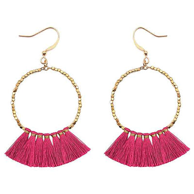 Gold Hoop Earrings with Fuchsia Tassel