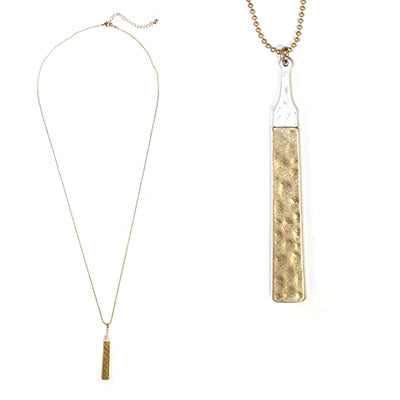 Gold Hammered Metal Bar Necklace on a Gold Chain