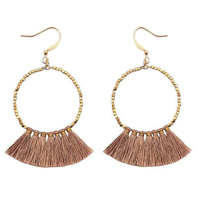 Gold Hoop Pink Tassel Earrings