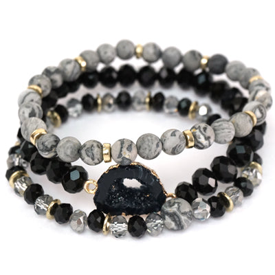 SEMI PRECIOUS BLAC AND GOLD MULTI STACK WITH BLACK DRUZY STONE