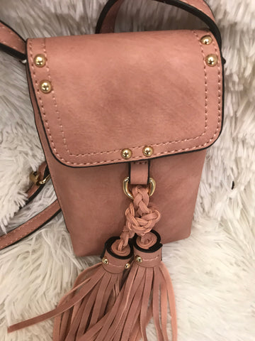 Braided Tassel Accent Cell Phone Holder - Cross Body