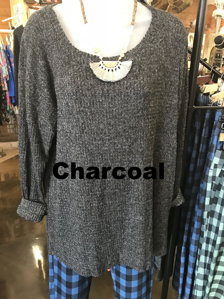 Charcoal High Low Waffle Knit Tunic Top (Available in Charcoal)