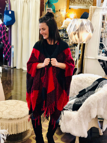Plaid Hooded Fringe Poncho (available in red, gray, black, khaki & taupe)