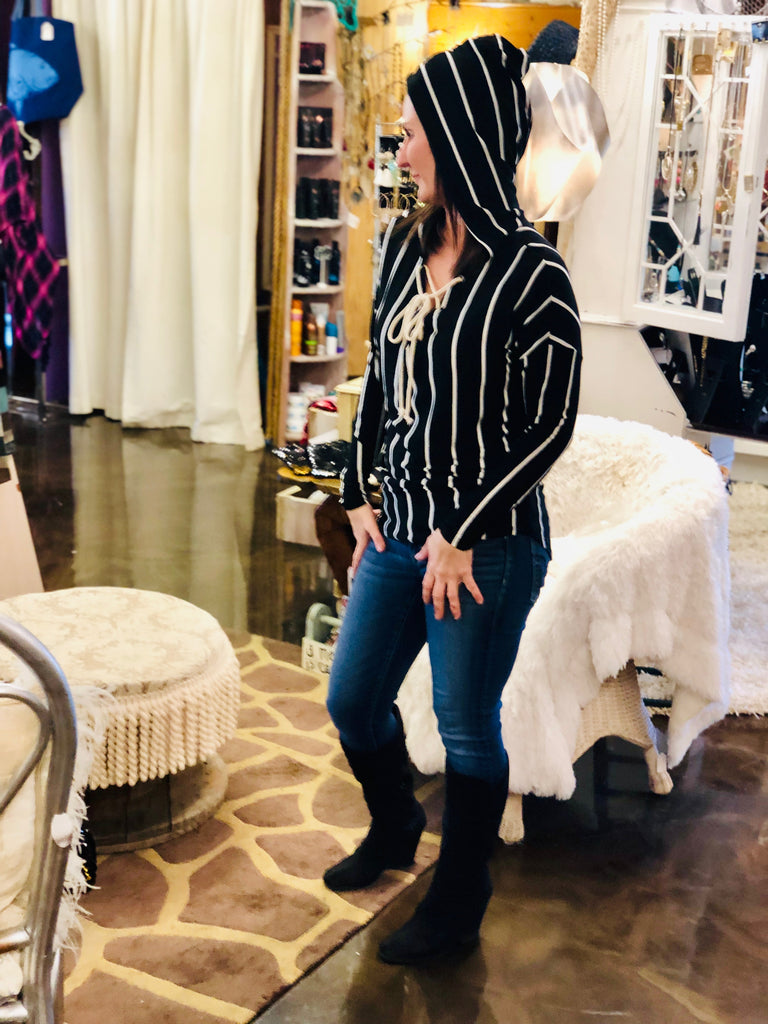 Black Lace Up Striped Tunic Hoodie