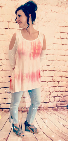 Pink Mix Open Shoulder Tunic