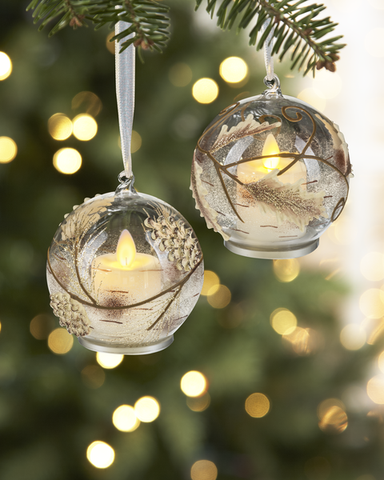 Pine Cone or Leaf LED Ornaments