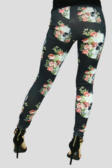 Black Skulls & Flowers Leggings