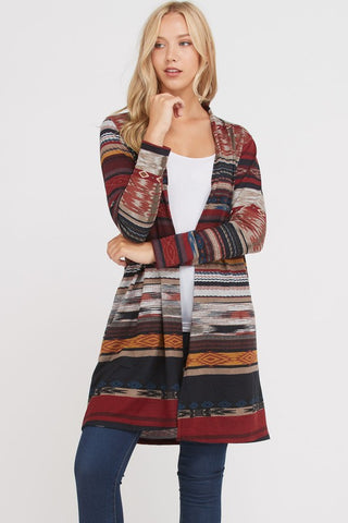 Printed Serape Cardigan in Burgundy Front View