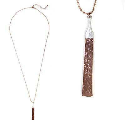 Rose Gold Hammered Bar Necklace on a Rose Gold Chain