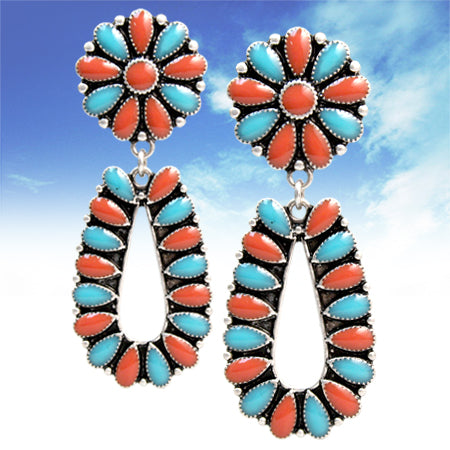 Turquoise & Coral Squash Earrings