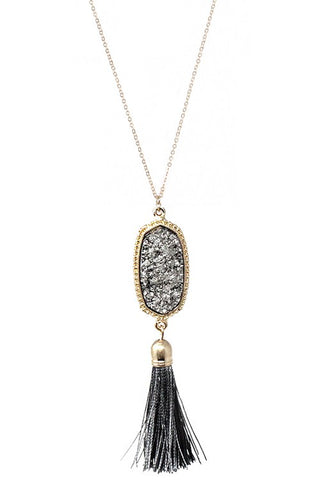 Druzy Tassel Necklace available in multiple colors